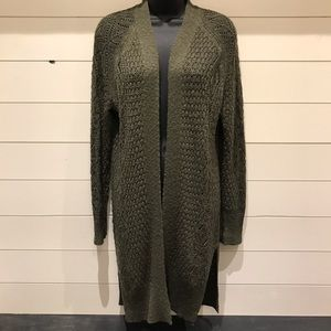Long Hunter Green Knit Cardigan
